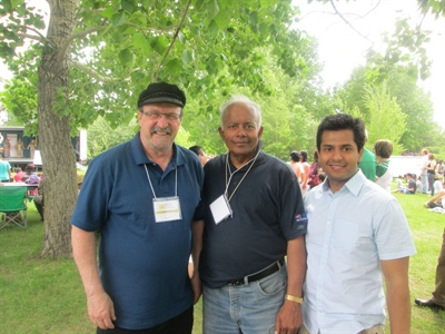 Des membres du CA de la Sk Intercultural Association. De gauche à droite, Roger Gauthier, Sam Sambasivam et Pratyush Das