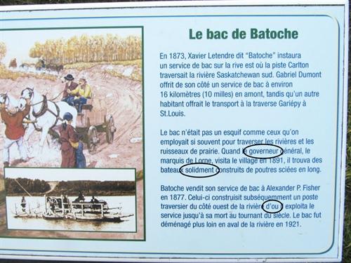 Panneau à Batoche
