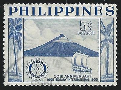 Timbre des Philippines illustrant un volcan