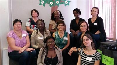 Les animatrices et la gestionnaire du projet Départ Santé, Gabrielle Lepage-Lavoie (à droite, deuxième rangée).