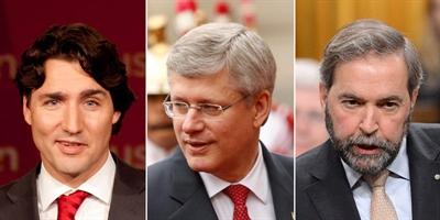 Justin Trudeau, Stephen Harper et Thomas Mulcair