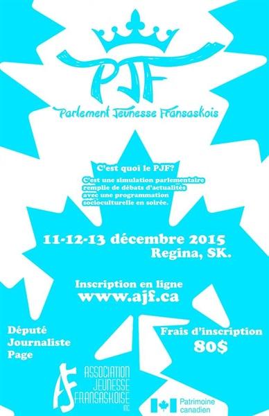 Parlement jeunesse fransaskois 2015 - affiche