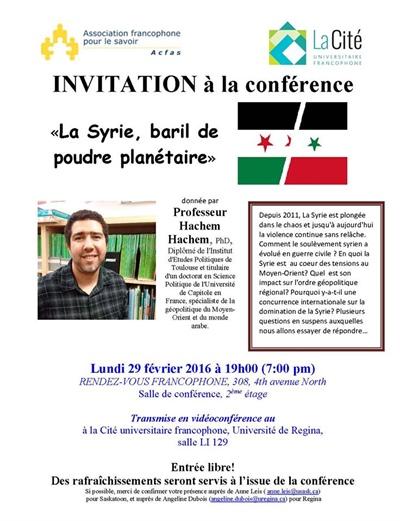 Conférence: La syrie, baril de poudre planétaire