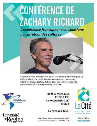 Conférence de Zachary Richard