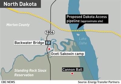 Trajet proposé du pipeline à Standing Rock