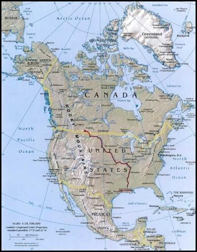 Tracé du voyage en canot de Dominique Liboiron d'Eastend (Sask) à la Louisiane.