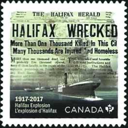 Le timbre commémoratif de l'explosion d'Halifax.