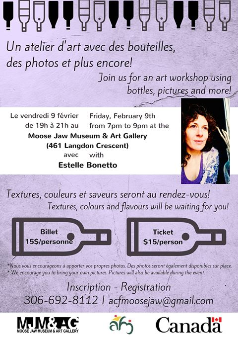 Atelier d'art à Moose Jaw avec Estelle Bonetto