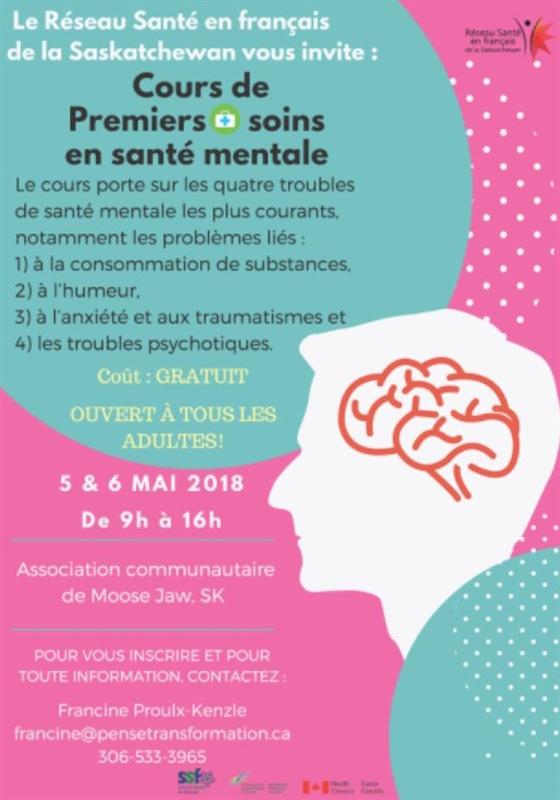 Cours de premiers soins en santé mentale à Moose Jaw