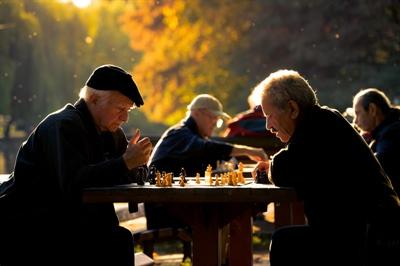Aînés jouant aux échecs