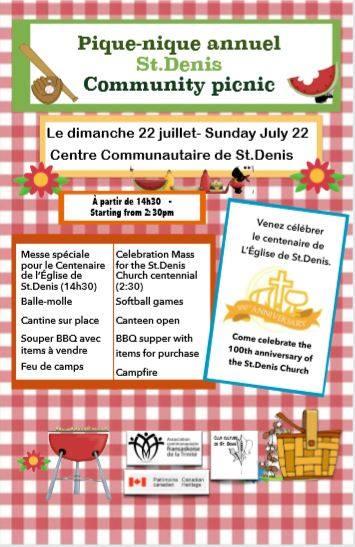 Pique-nique 2018 et centenaire de l'Église de St-Denis