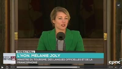 Mélanie Joly, ministre du Tourisme, des Langues officielles et de la Francophonie