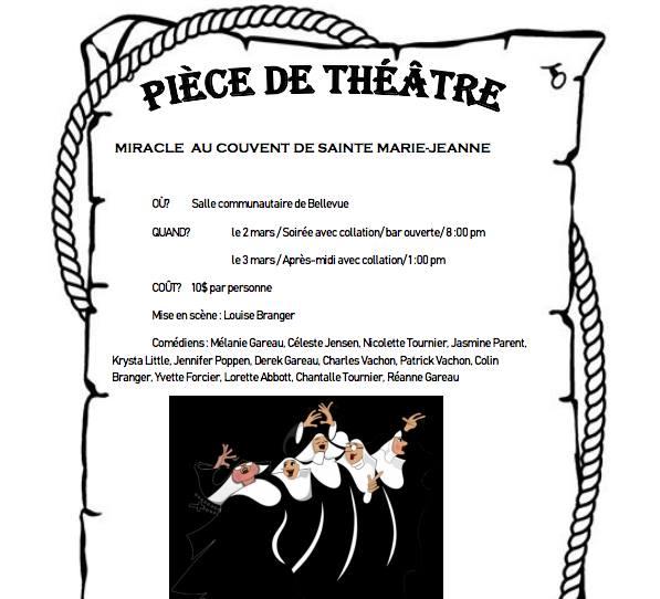 Théâtre à Bellevue: Miracle au couvent de Sainte Marie-Jeanne