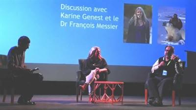 Karine Genest et le docteur François Messier comme panélistes dans une discussion menée par Éric Lefol