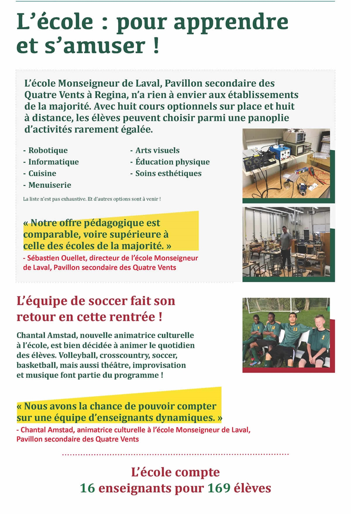 Coup d'oeil sur l'École Mgr de Laval