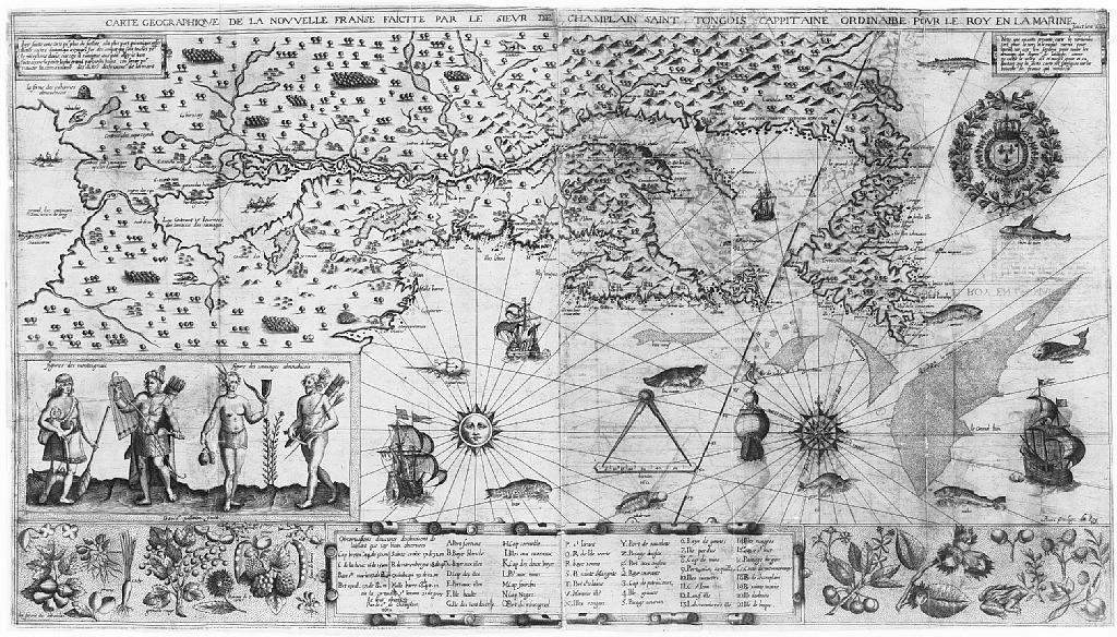 Carte de la Nouvelle-France dessinée par Samuel de Champlain