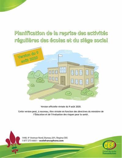Plan de reprise des activités régulières des écoles et du siège social - 2020